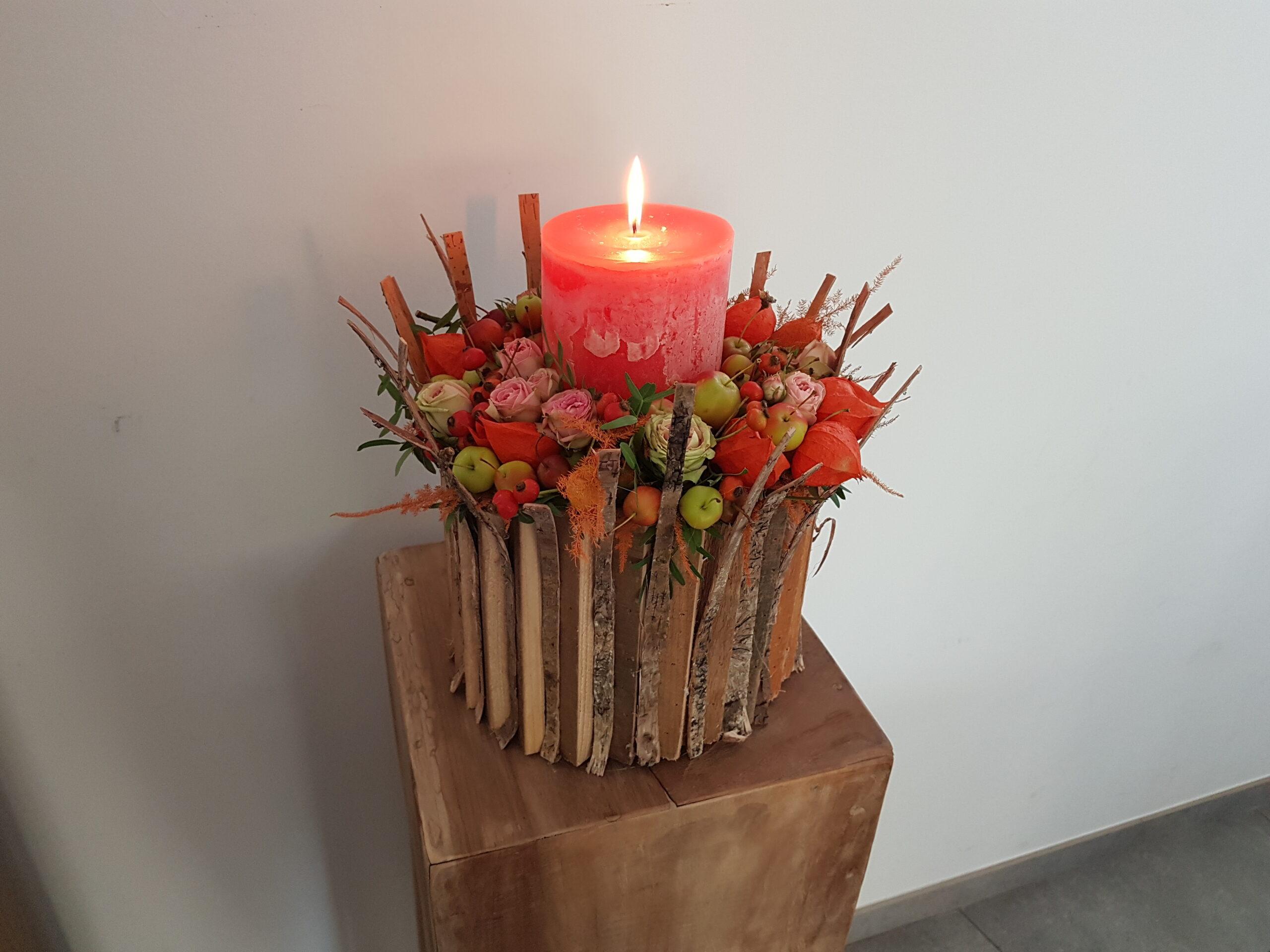 Kaars, bloemen en bessen-workshop-puur-fleur